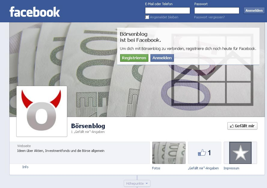 Börsenblog bei facebook